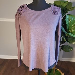 Thermal Waffle Knit Long Sleeve with Lace Detail